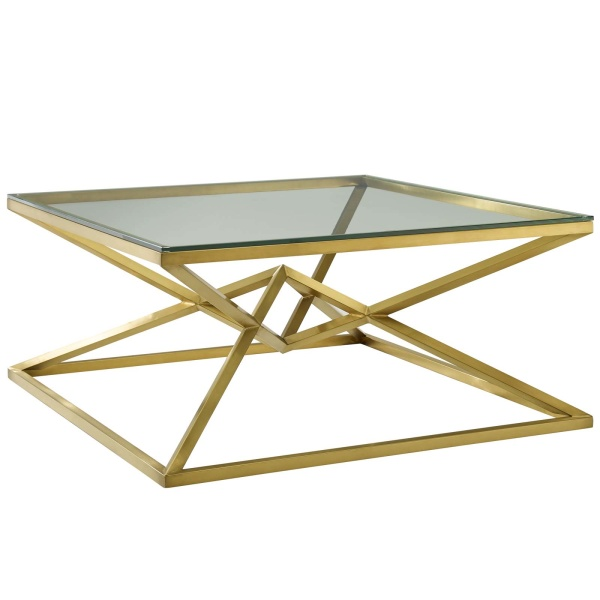 "Point 39.5"" Brushed Gold Metal Stainless Steel Coffee Table Gold"