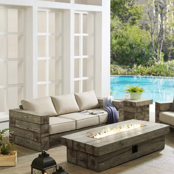 Manteo Rustic Coastal Outdoor Patio Sunbrella® Sofa and Fire Pit Set Light Gray Beige