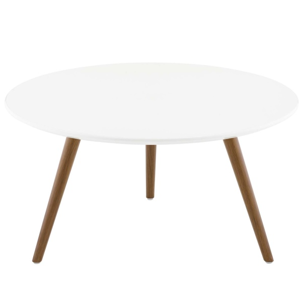 "Lippa 28"" Round Wood Top Coffee Table with Tripod Base Walnut White"