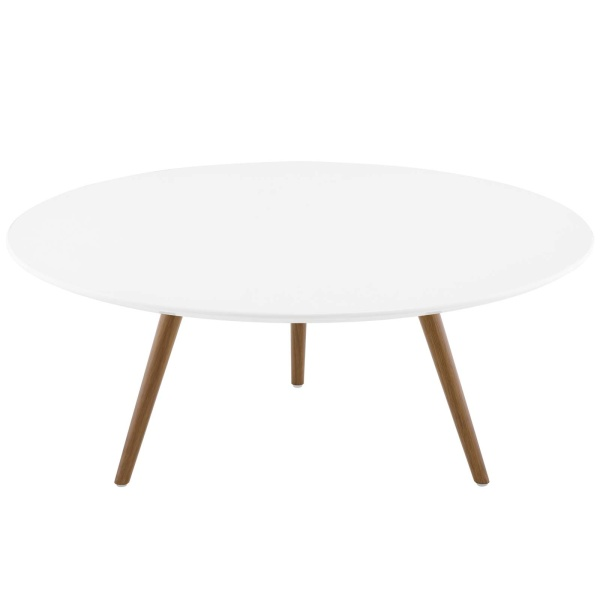 "Lippa 36"" Round Wood Top Coffee Table with Tripod Base Walnut White"