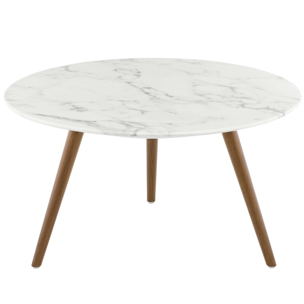 "Lippa 28"" Round Artificial Marble Coffee Table with Tripod Base Walnut White"