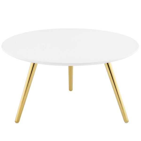 "Lippa 28"" Round Wood Top Coffee Table with Tripod Base Gold White"