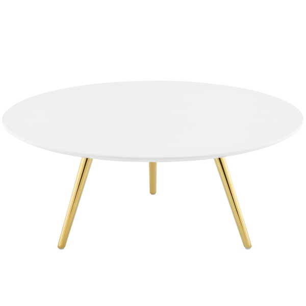 "Lippa 36"" Round Wood Top Coffee Table with Tripod Base Gold White"