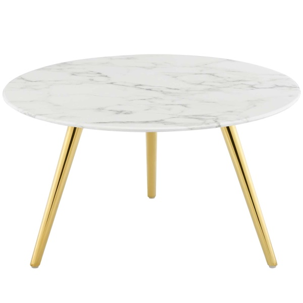 "Lippa 28"" Round Artificial Marble Coffee Table with Tripod Base Gold White"
