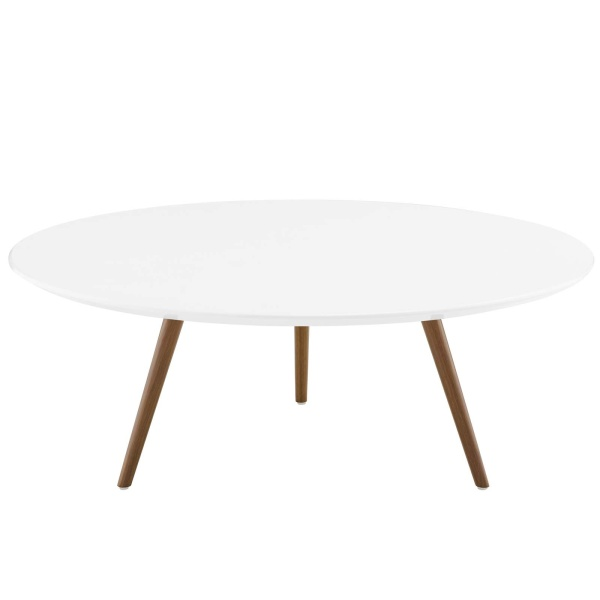 "Lippa 40"" Round Wood Top Coffee Table with Tripod Base Walnut White"