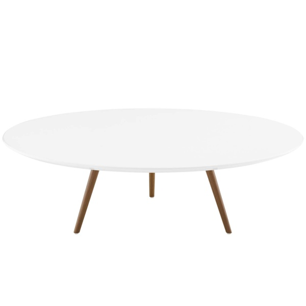 "Lippa 47"" Round Wood Top Coffee Table with Tripod Base Walnut White"