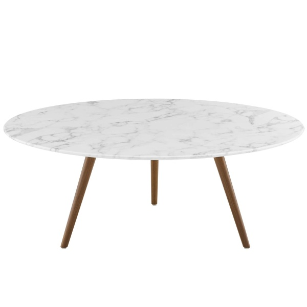 "Lippa 40"" Round Artificial Marble Coffee Table with Tripod Base Walnut White"