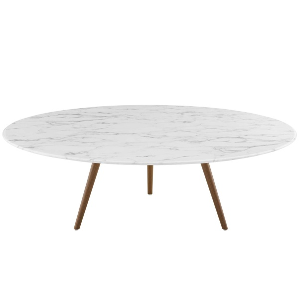 "Lippa 47"" Round Artificial Marble Coffee Table with Tripod Base Walnut White"