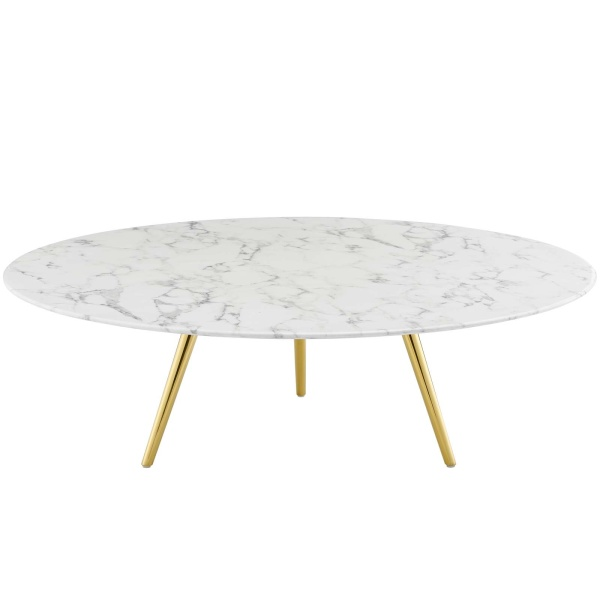"Lippa 47"" Round Artificial Marble Coffee Table with Tripod Base Gold White"