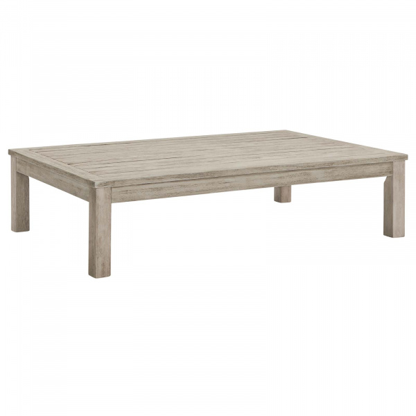 EEI-3685-LGR Wiscasset Outdoor Patio Acacia Wood Coffee Table Light Gray