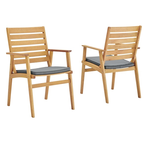 Syracuse Eucalyptus Wood Outdoor Patio Dining Chair Set of 2 Natural Gray
