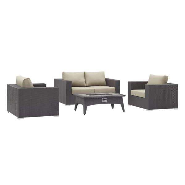 Convene 4 Piece Set Outdoor Patio with Fire Pit in Espresso Beige