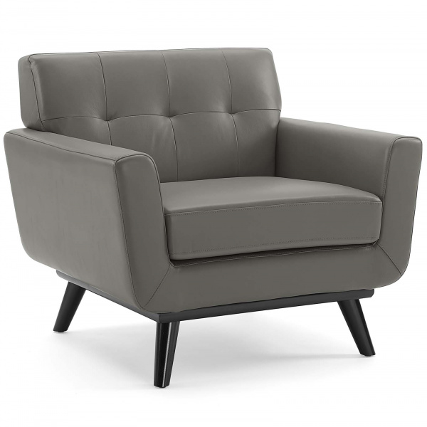 Engage Top-Grain Leather Living Room Lounge Accent Armchair Gray