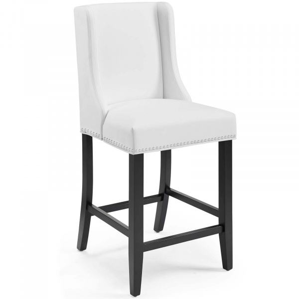 Baron Faux Leather Counter Stool White