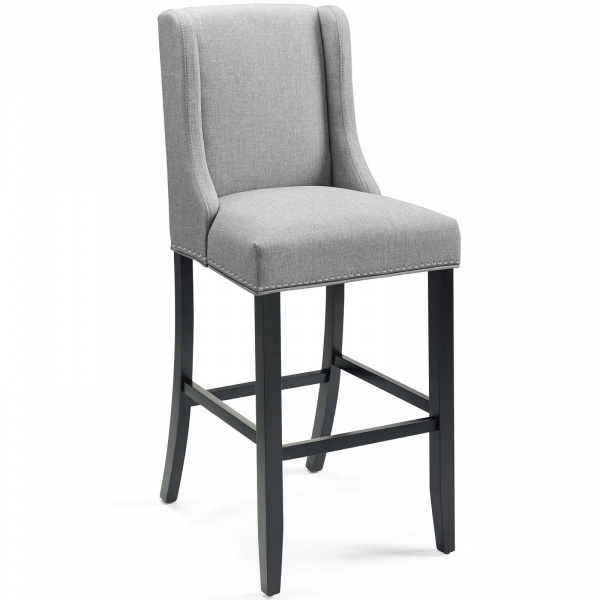Baron Upholstered Fabric Bar Stool Light Gray