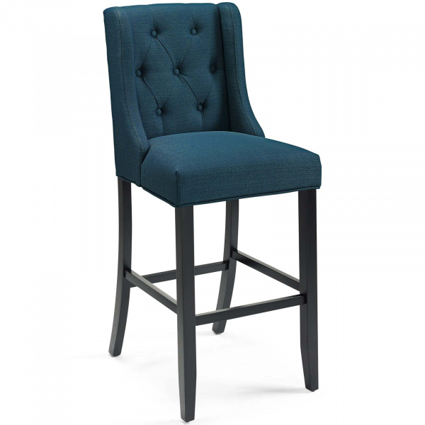 Baronet Tufted Button Upholstered Fabric Bar Stool Azure