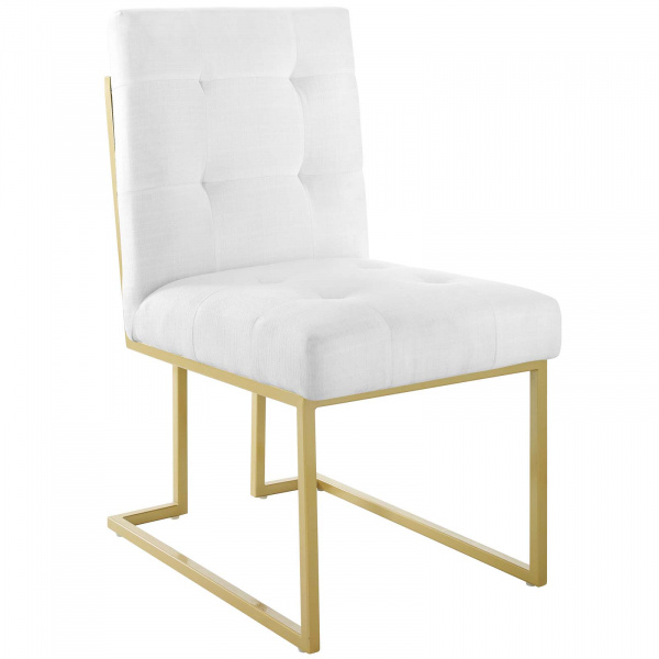 Privy Gold Stainless Steel Upholstered Fabric Dining Accent Chair Gold White
