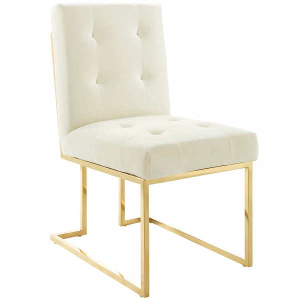 Privy Gold Stainless Steel Performance Velvet Dining Chair Gold Ivory