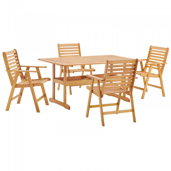 "Hatteras Outdoor Patio Eucalyptus Wood Dining Set with 59"" Dining Table Natural"
