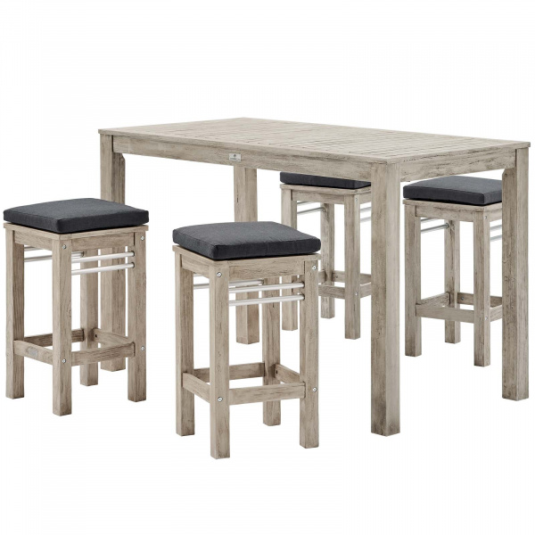 EEI-3759-LGR-SET Wiscasset Outdoor Patio Acacia Wood Bar Table Set with 4 Bar Stools Light Gray