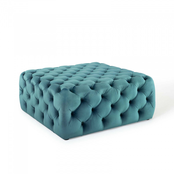 Anthem Tufted Button Large Square Performance Velvet Ottoman Sea Blue