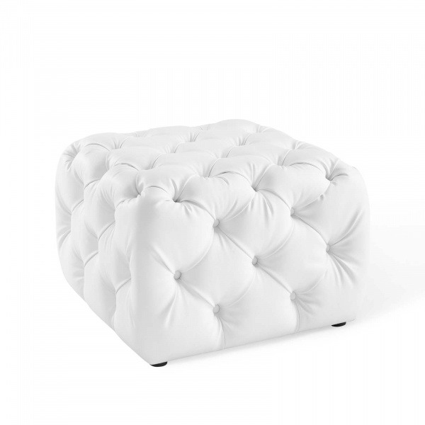 Anthem Tufted Button Square Faux Leather Ottoman White