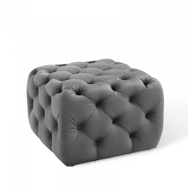 Anthem Tufted Button Square Performance Velvet Ottoman Gray
