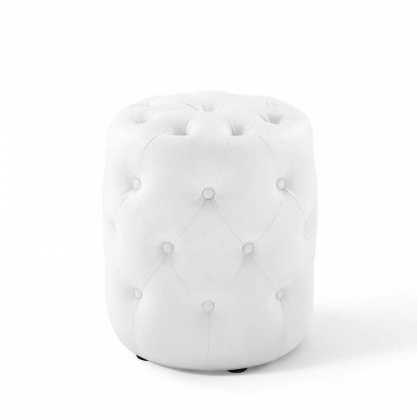 Anthem Tufted Button Round Faux Leather Ottoman White