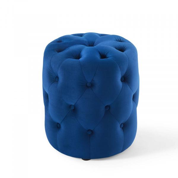 Groovy Anthem Tufted Button Round Performance Velvet Ottoman Navy Inzonedesignstudio Interior Chair Design Inzonedesignstudiocom