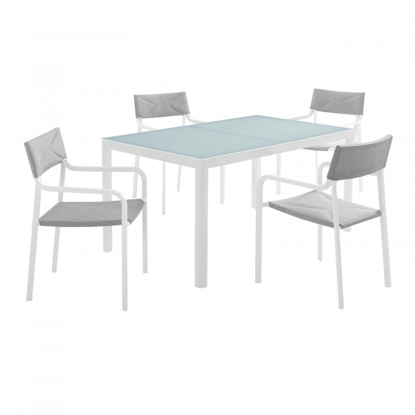 Raleigh Outdoor Patio Aluminum Dining Set with 4 Stackable Chairs