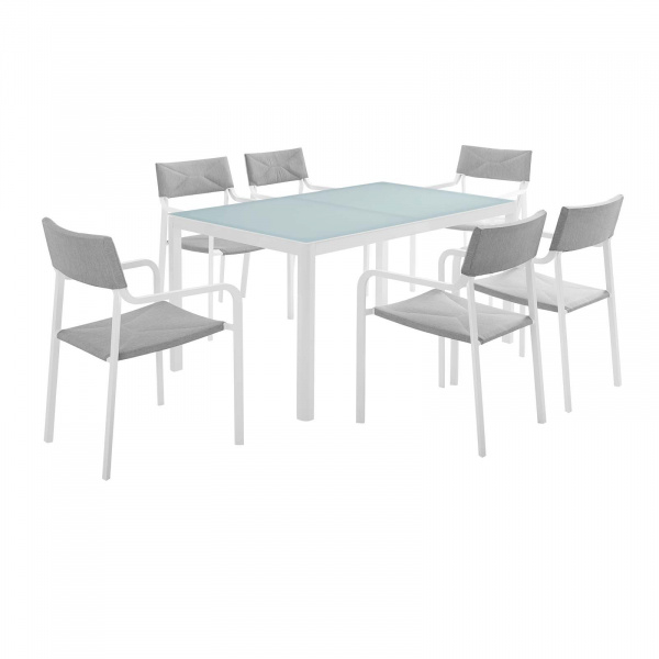 Raleigh Outdoor Patio Aluminum Dining Set with 6 Stackable Chairs