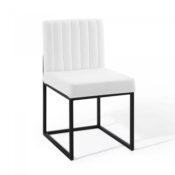 EEI-3807-BLK-WHI Carriage Channel Tufted Sled Base Upholstered Fabric Dining Chair Black White