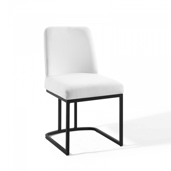 EEI-3811-BLK-WHI Amplify Sled Base Upholstered Fabric Dining Side Chair Black White