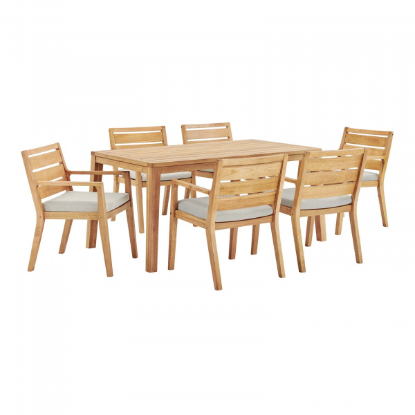 Portsmouth Outdoor Patio Karri Wood Dining Set with 6 Armchairs