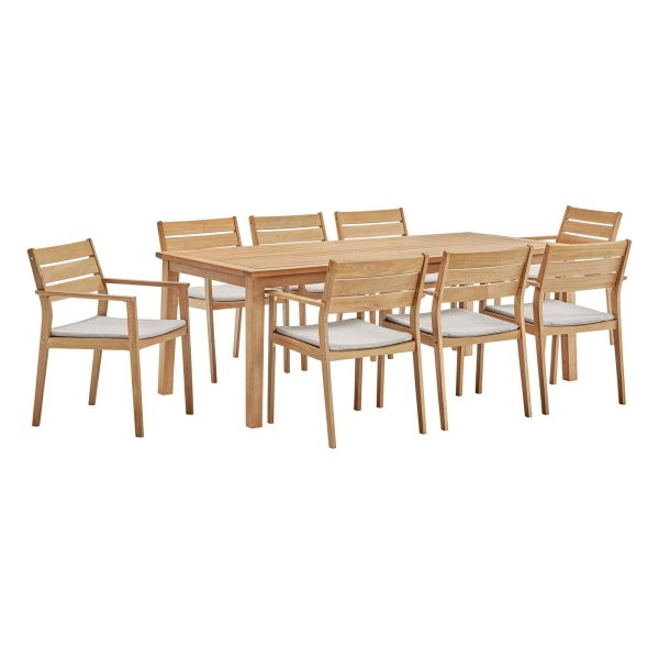 EEI-3838-NAT-TAU-SET Viewscape 9 Piece Outdoor Patio Ash Wood Dining Set Natural Taupe