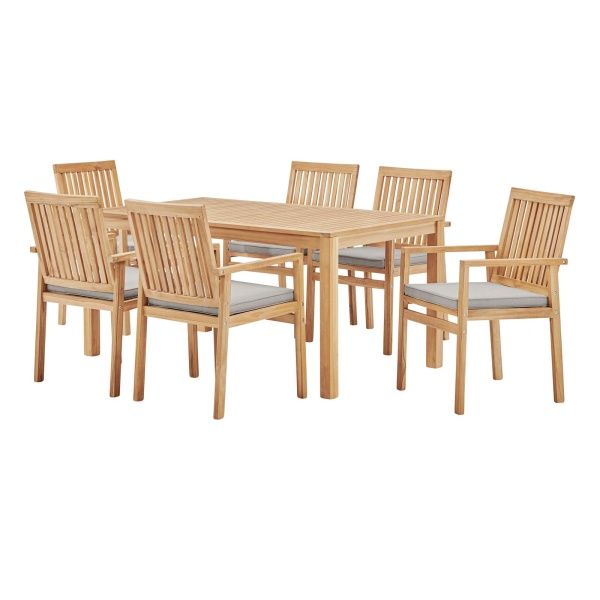 EEI-3846-NAT-TAU-SET Farmstay 7 Piece Outdoor Patio Teak Wood Dining Set Natural Taupe