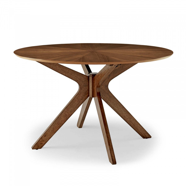 "Crossroads 47"" Round Wood Dining Table Walnut"
