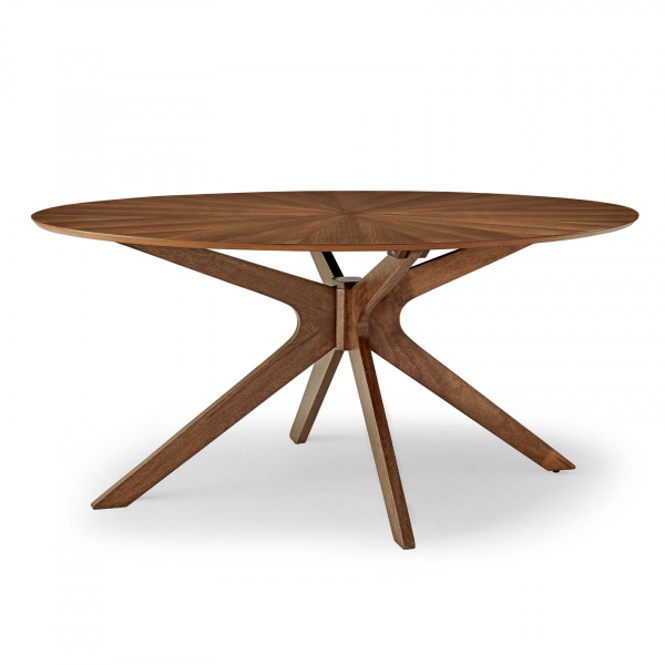 "Crossroads 63"" Oval Wood Dining Table Walnut"