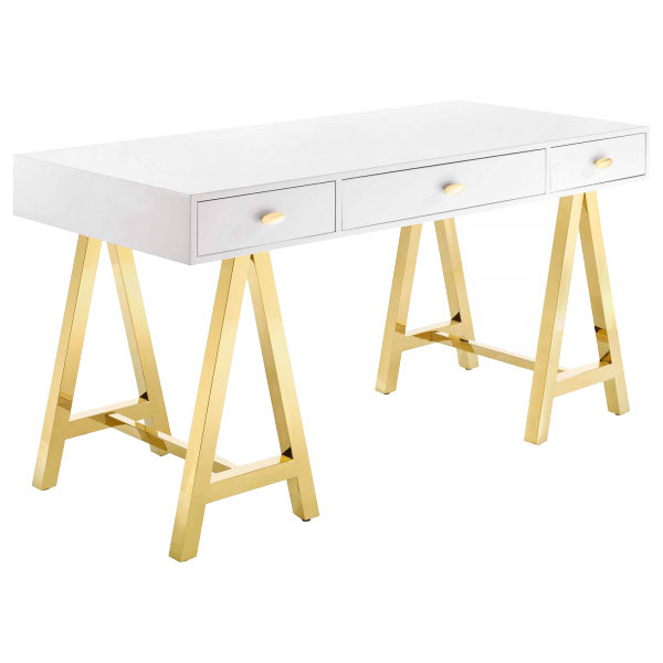 EEI-3861-GLD-WHI Jettison Office Desk Gold White