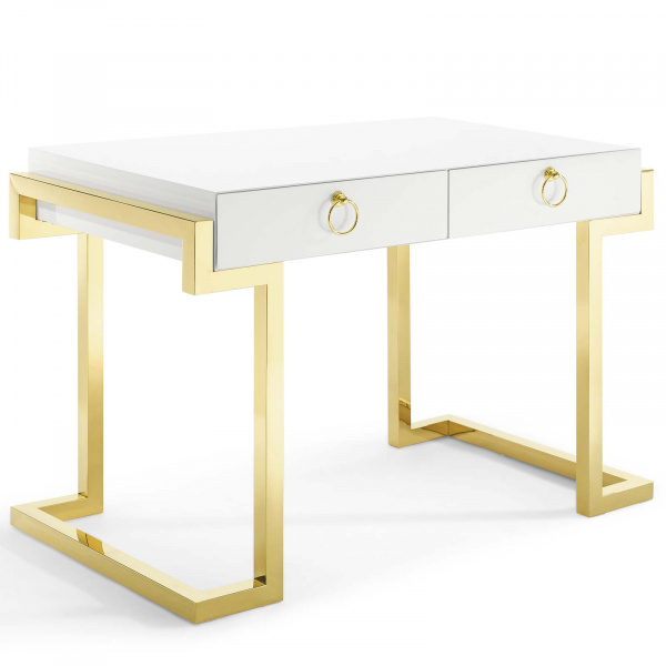EEI-3862-GLD-WHI Ring Office Desk Gold White