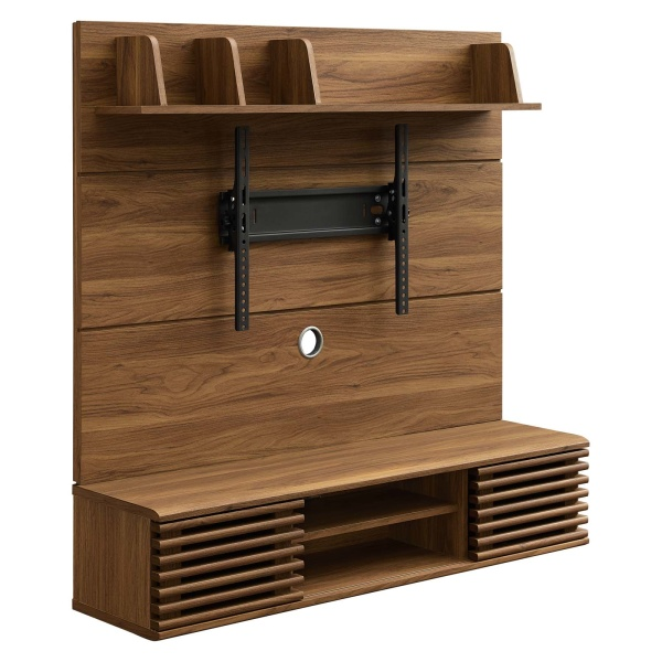 EEI-3864-WAL Render Wall Mounted TV Stand Entertainment Center Walnut