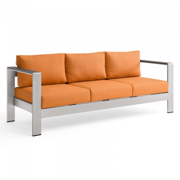 EEI-3917-SLV-ORA Shore Outdoor Patio Aluminum Sofa Silver Orange