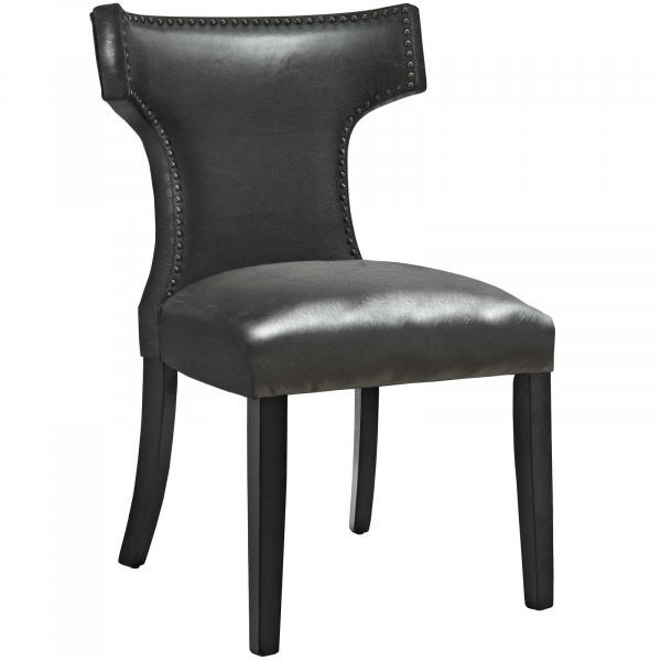 Curve Vinyl Dining Chair Black