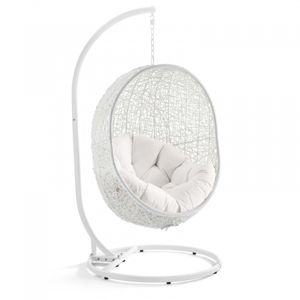 EEI-3929-WHI-WHI Hide Outdoor Patio Sunbrella® Swing Chair With Stand White White