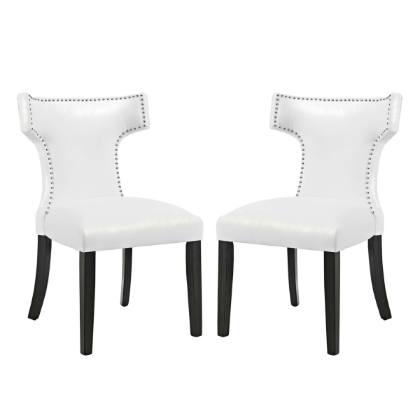 EEI-3949-WHI Curve Dining Chair Vinyl Set of 2 White