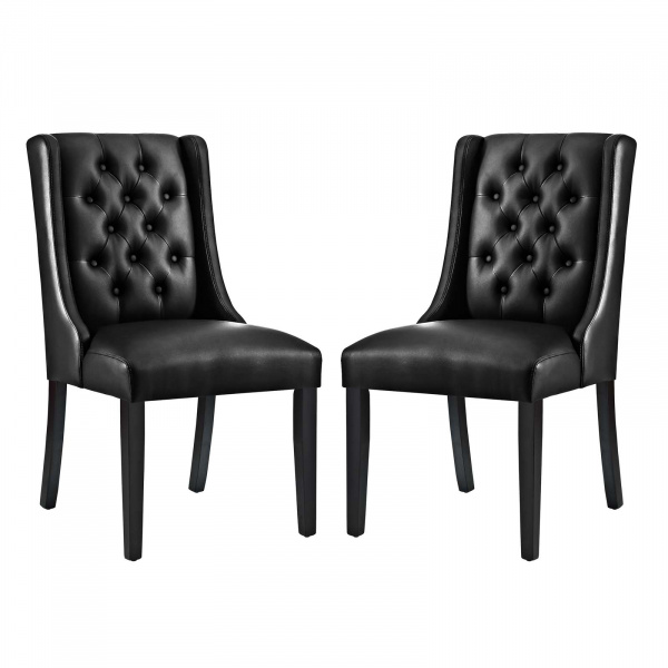 EEI-3950-BLK Baronet Dining Chair Vinyl Set of 2 Black