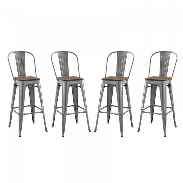 EEI-3951-GME Promenade Bar Stool Metal Set of 4 Gunmetal