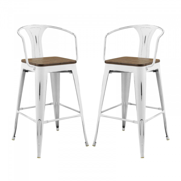 EEI-3954-WHI Promenade Bar Stool Set of 2 White