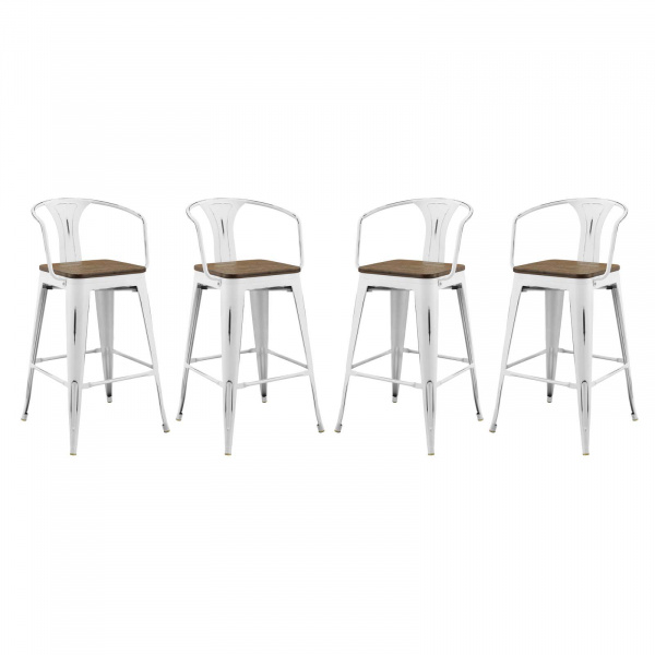EEI-3955-WHI Promenade Bar Stool Set of 4 White