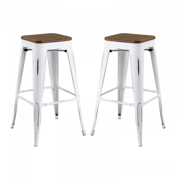 EEI-3956-WHI Promenade Bar Stool Set of 2 White